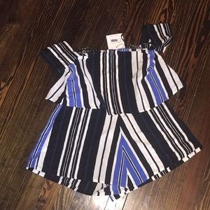 Missguided Blue stripe romper brand new